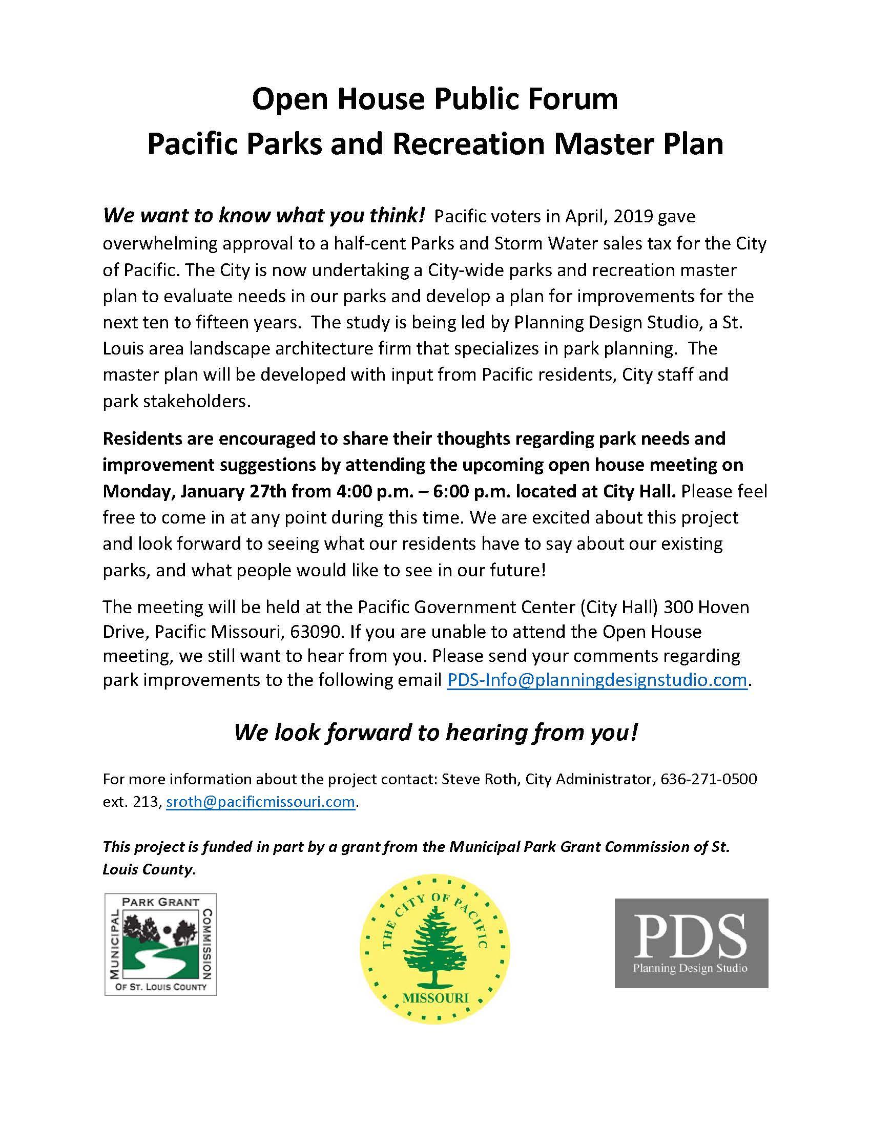 Pacific Parks Master Plan flyer